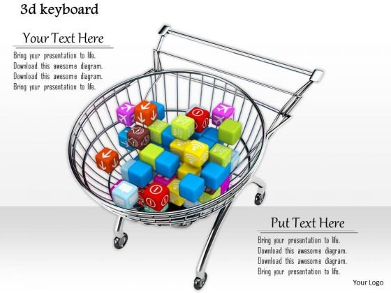 Stock Photo 3d Shopping Cart With Balls Inside PowerPoint Slide