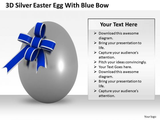 Stock Photo 3d Silver Easter Egg With Blue Bow PowerPoint Slide