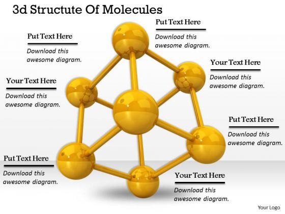 Stock Photo 3d Structute Of Molecules PowerPoint Template