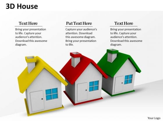Stock Photo 3d Three House For Real Estate PowerPoint Slide