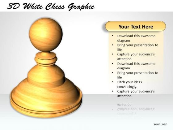 Stock Photo 3d White Chess Graphic PowerPoint Template