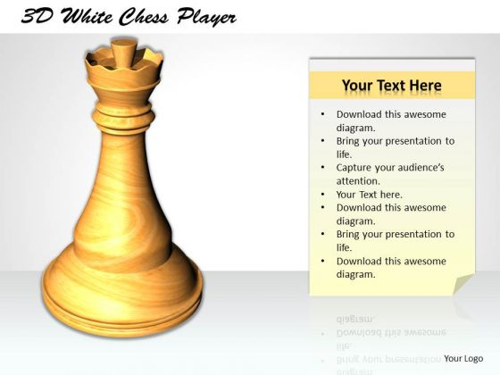 Stock Photo 3d White Chess Player PowerPoint Template