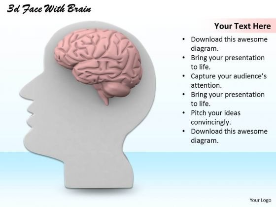 Stock Photo 3d White Human Face With Brain PowerPoint Slide