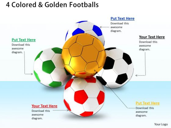 Stock Photo 4 Colors And Golden Footballs Leadership PowerPoint Slide