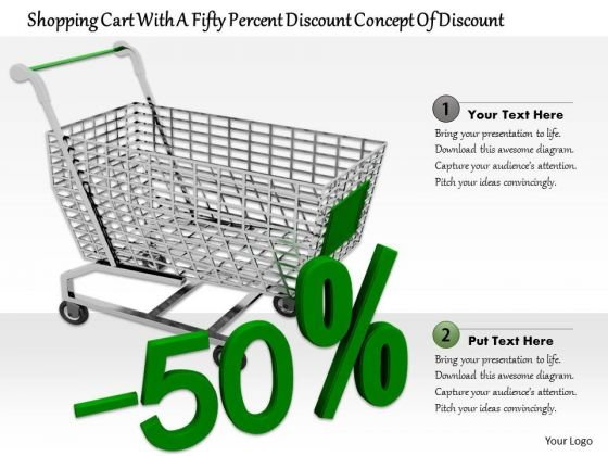 Stock Photo 50 Percent Discount With Shopping Cart PowerPoint Slide