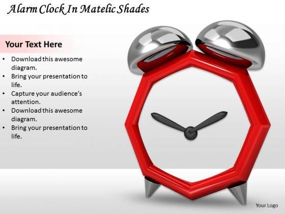 Stock Photo Alarm Clock In Metallic Shades Ppt Template