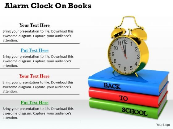 Stock Photo Alarm Clock On Books PowerPoint Template
