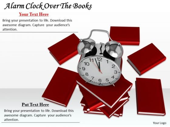 Stock Photo Alarm Clock Over The Books Ppt Template