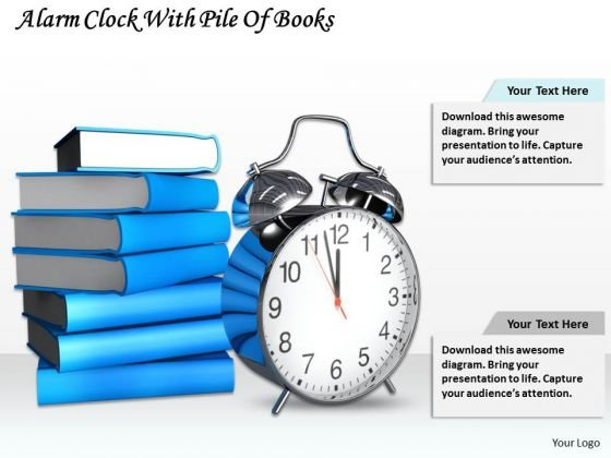 Stock Photo Alarm Clock With Pile Of Books Ppt Template