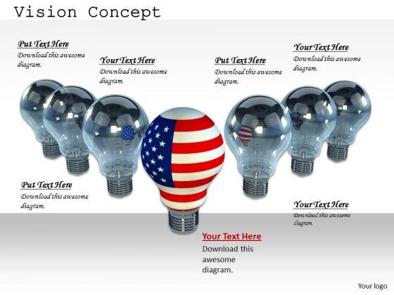 Stock Photo American Bulb As Leader Of Grey Bulbs PowerPoint Slide