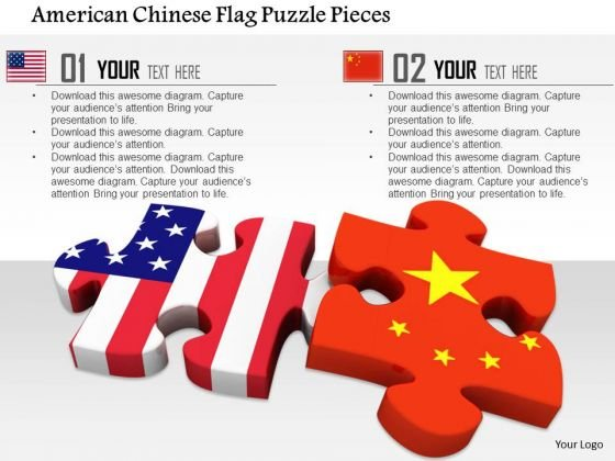 Stock Photo American Chinese Flag Puzzle Pieces PowerPoint Slide
