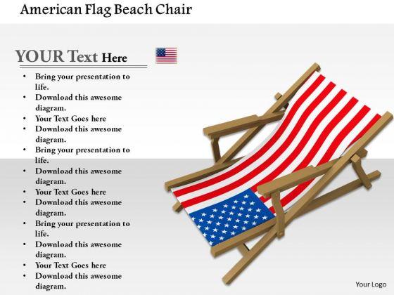 Stock Photo American Flag Beach Chair PowerPoint Slide