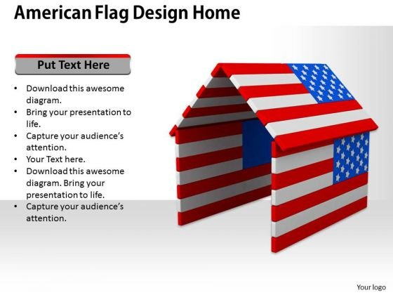 Stock Photo American Flag Design Home PowerPoint Template