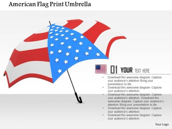 Stock Photo American Flag Print Umbrella PowerPoint Slide