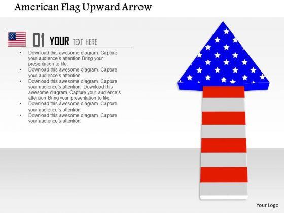 Stock Photo American Flag Upward Arrow PowerPoint Slide