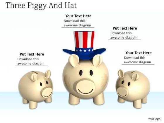 Stock Photo American Hat On Big Piggy Bank Pwerpoint Slide