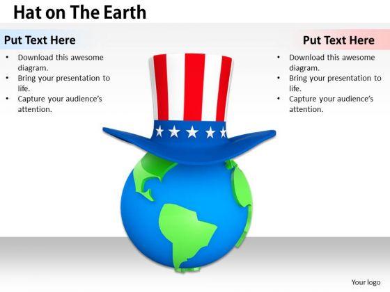 Stock Photo American Hat On Earth Globe PowerPoint Slide