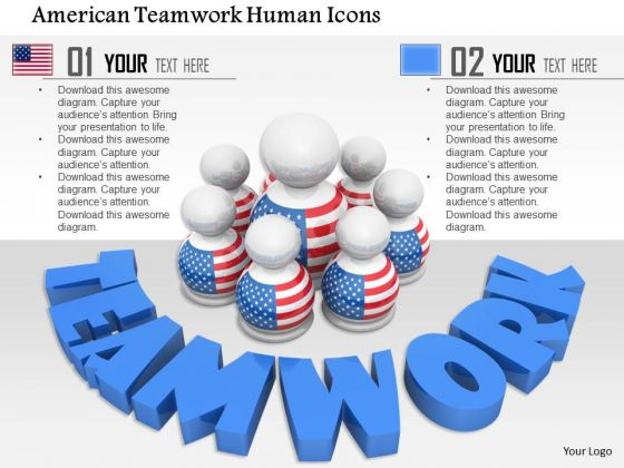 Stock Photo American Teamwork Human Icons PowerPoint Slide