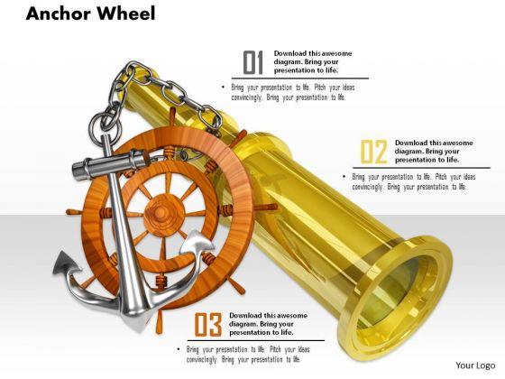 Stock Photo Anchor Wheel And Binocular On White Background PowerPoint Slide