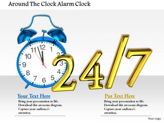 Stock Photo Around The Clock Alarm Clock PowerPoint Slide