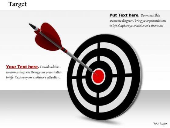 Stock Photo Arrow Hits On Bulls Eye Target Concept PowerPoint Slide