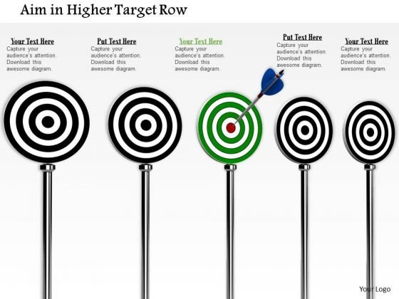Stock Photo Arrow Hitting On Green Target Board PowerPoint Slide