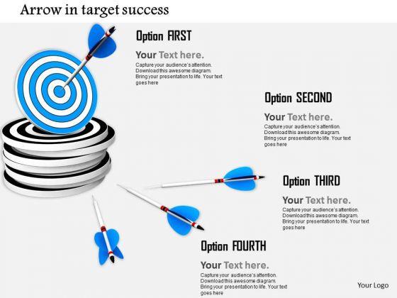 Stock Photo Arrow Hitting Target Dart PowerPoint Slide