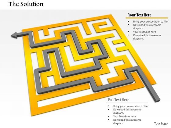 Stock Photo Arrow Indicating Solution Path Of Maze Pwerpoint Slide