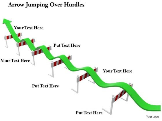 Stock Photo Arrow Jumping Over Hurdles PowerPoint Slide