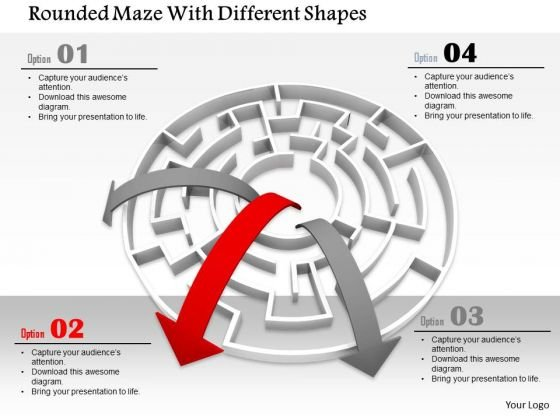 Stock Photo Arrows Coming Out From Maze PowerPoint Slide