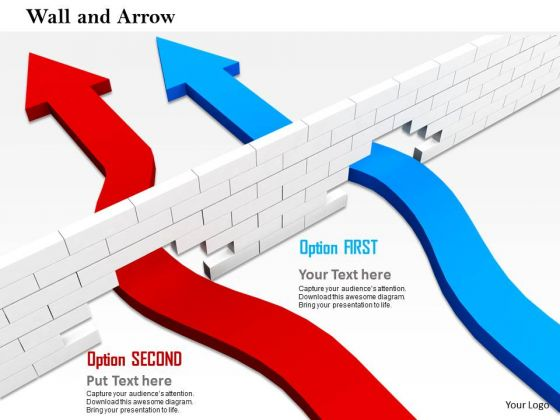 Stock Photo Arrows Finding Way Through The Wall PowerPoint Slide