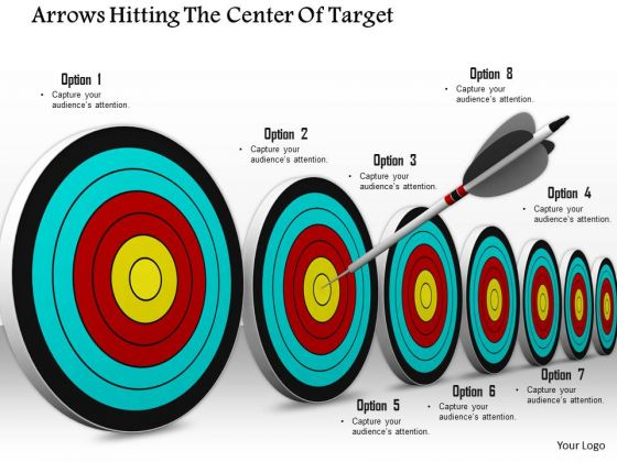 Stock Photo Arrows Hitting The Center Of Target PowerPoint Slide