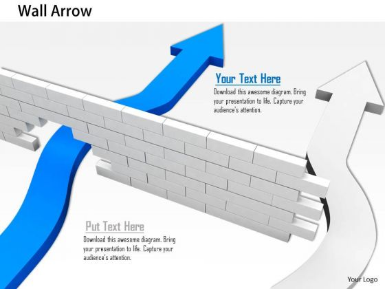 Stock Photo Arrows Making Path Through The Wall PowerPoint Slide