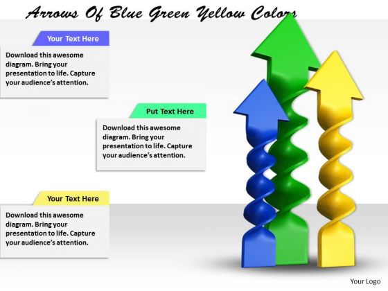 Stock Photo Arrows Of Blue Green Yellow Colors PowerPoint Template