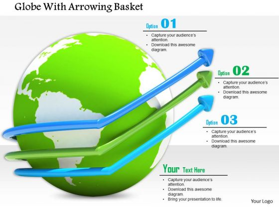 Stock Photo Arrows On Globe Showing Three Steps PowerPoint Slide