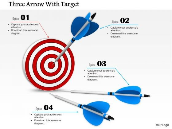 Stock Photo Arrows Trying To Hit On Target Pwerpoint Slide