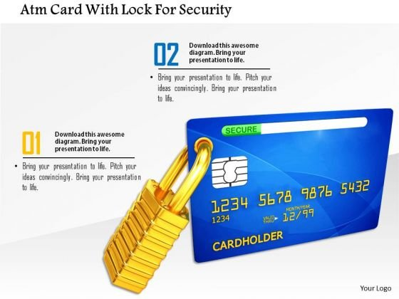 Stock Photo Atm Card With Lock For Security PowerPoint Slide