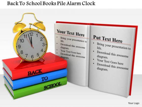 Stock Photo Back To School Books Pile Alarm Clock PowerPoint Slide