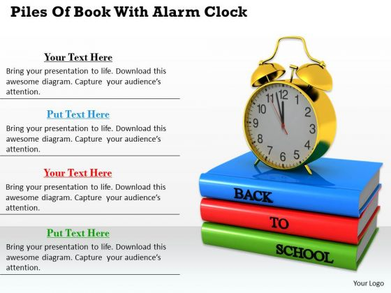Stock Photo Back To School Books With Alarm Clock PowerPoint Slide