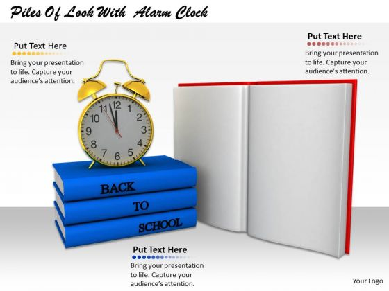 Stock Photo Back To School Theme With Books And Alarm Clock PowerPoint Slide