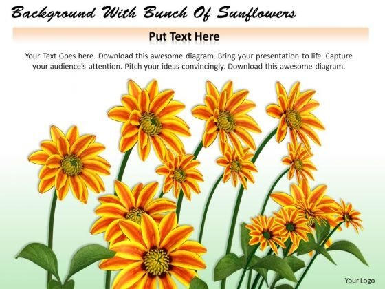 Stock Photo Background With Bunch Of Sunflowers PowerPoint Template