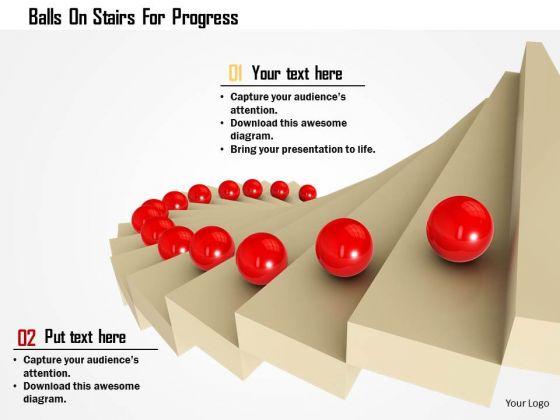 Stock Photo Balls On Stairs For Progress PowerPoint Slide