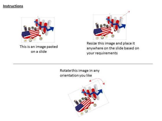 Stock Photo Bar Graph And Us Map With Financial Growth PowerPoint - Powerpoint slide with us map