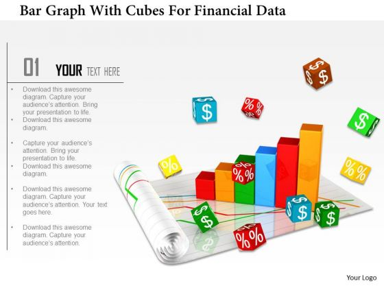 Stock Photo Bar Graph With Cubes For Financial Data PowerPoint Slide