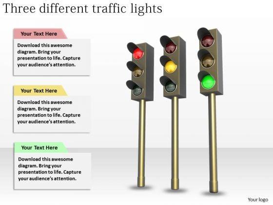 Stock Photo Basic Marketing Concepts Three Different Traffic Lights Stock Photos