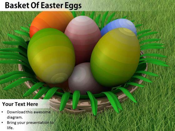 Stock Photo Basket Full With Easter Eggs PowerPoint Slide