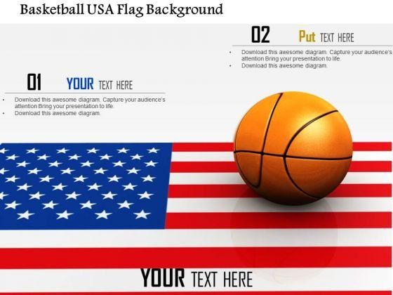 Stock Photo Basketball Usa Flag Background PowerPoint Slide
