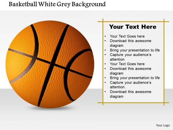 Stock Photo Basketball White Grey Background PowerPoint Slide