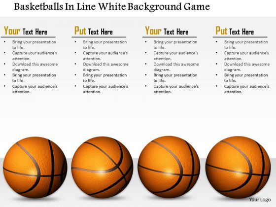 Stock Photo Basketballs In Line White Background Game PowerPoint Slide