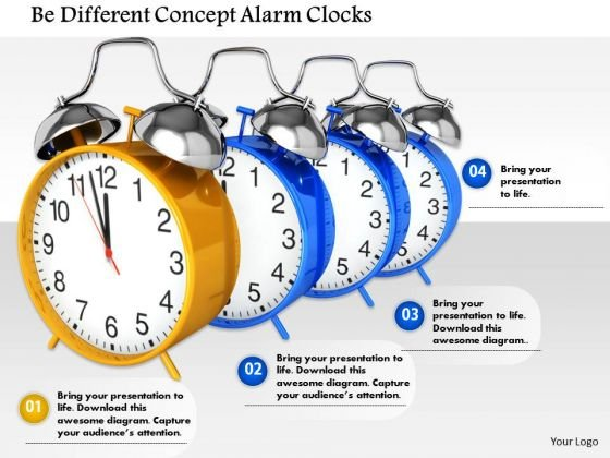 Stock Photo Be Different Concept Alarm Clocks PowerPoint Slide